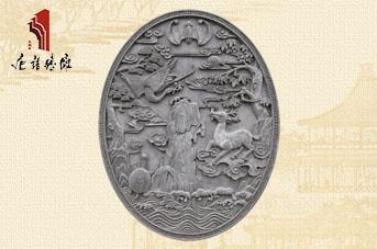 唐语陕西砖雕椭圆福禄寿TY-GY476